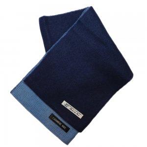 カシミア100%マフラー(紺×水色)