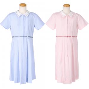 コードレーンワンピース【21OP007-A】130~150(角襟)ピンク・ブルー