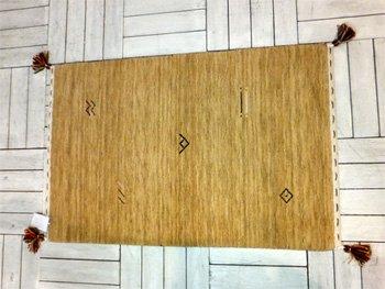 インド製 60×90cm ギャベ(ギャッベ)かわいいモチーフがオシャレな玄関マット!(ベージュ)