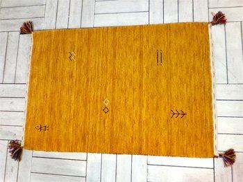 インド製 60×90cm ギャベ(ギャッベ)かわいいモチーフがオシャレな玄関マット!(イエロー)
