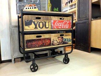 店舗什器としても最適!レトロでヴィンテージ感溢れる90cm幅マンゴー古材のアメリカンテイストのキャスター付きチェ…