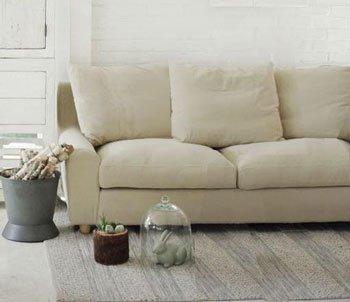 今なら送料無料!透明感のあるアイボリー色がきれいなカバーリング仕様の上品な布張り2Pソファー