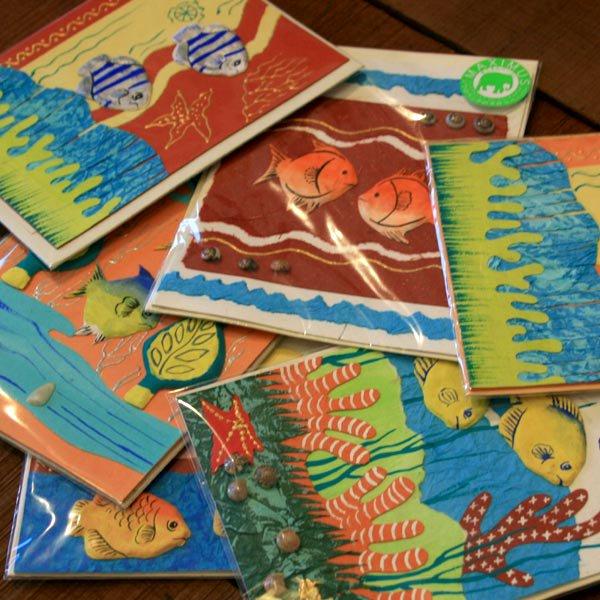 ぞうさんペーパー 海 グリーティングカード(熱帯魚-4)