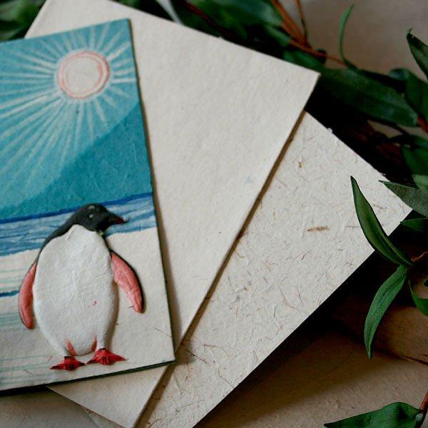 ぞうさんペーパー 海 グリーティングカード(ペンギン)