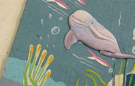 ぞうさんペーパー 海 グリーティングカード(シロイルカ)