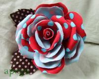 ハンドメイドフローレス(花飾り)水玉 ブルーレッド