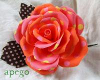 ハンドメイドフローレス(花飾り)水玉 オレンジピンク