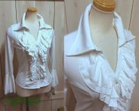 衿付きフリルシャツブラウス*白