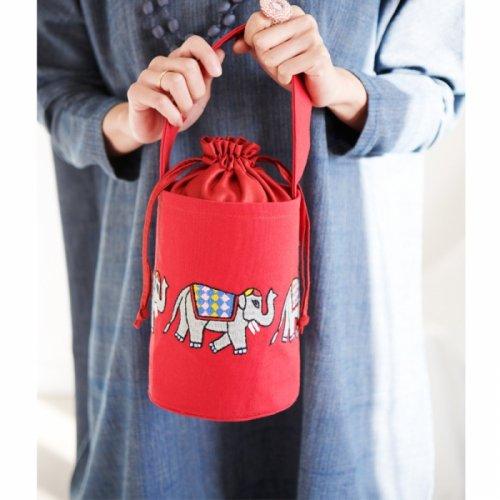 ゾウの手刺繍バケツバッグ