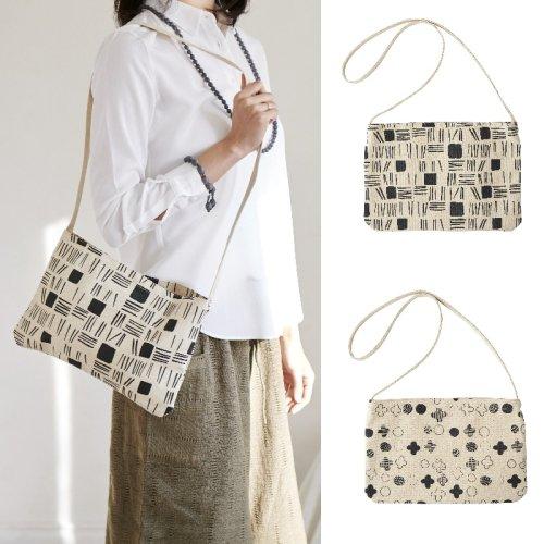 手刷り布のショルダーバッグ