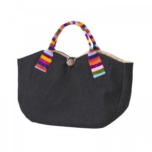 手織りボーダーウールのハンドバッグ