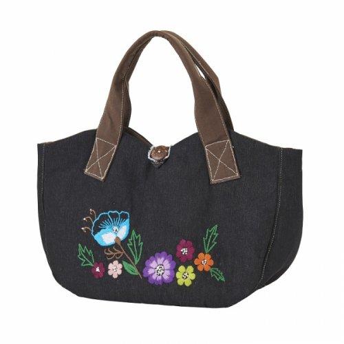 お花モチーフの手刺繍ハンドバッグ