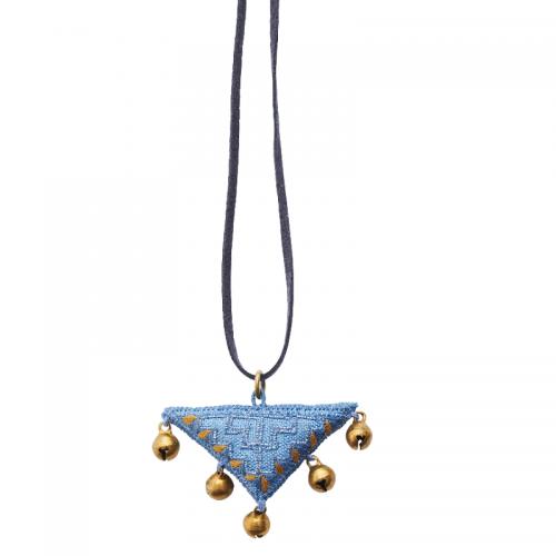 絹のアップリケネックレス(青)