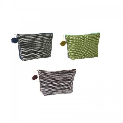 カレン族手織りポーチ(ブラック×ネイビー)