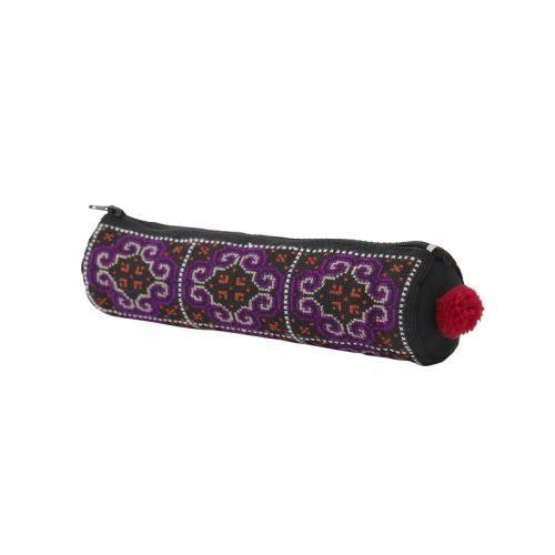 モン族手刺繍ラウンドペンケース
