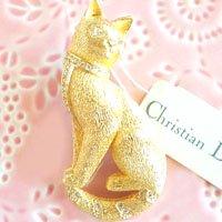 猫のビンテージブローチ Cristian Dior...