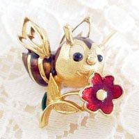 お花を持った蜂のビンテージブローチ J...