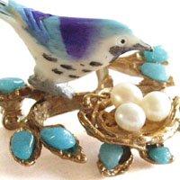 幸せの青い鳥と巣のブローチ SWOBODA(スワボダ)