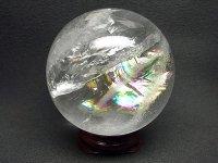 レインボー★【クリスタル】白水晶球★60mm【飾り台付】:C-51613