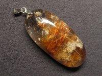 ★【ブラウンゴールドルチル&ホワイトガーデン】金針入り庭園水晶★天然石ペンダント:G-57926