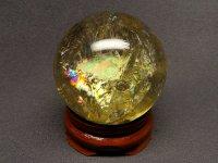 レインボー★【シトリン】黄水晶球★38mm【飾り台付】:CT-59158