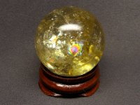レインボー★【シトリン】黄水晶球★36mm【飾り台付】:CT-59148