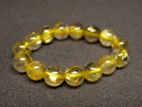 ★黄金【タイチンルチル】水晶ビーズ指輪★19号:GT-75759