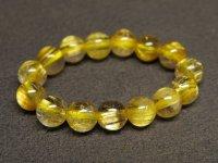★黄金【タイチンルチル】水晶ビーズ指輪★17号:GT-75754