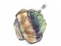 薔薇★【グラデーションフローライト】蛍石★天然石彫刻ペンダント:FR-82713