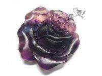 薔薇★【グラデーションフローライト】蛍石★天然石彫刻ペンダント:DG-95229
