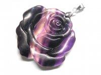 薔薇★【グラデーションフローライト】蛍石★天然石彫刻ペンダント:DG-95223