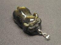 ★【豚】【ゴールドオブシディアン】金黒曜石★天然石彫刻ペンダント:DG-15614
