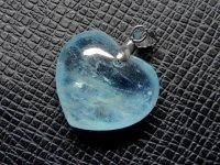ハート★【アクアマリン】藍玉★天然石ペンダント:AQ-42159