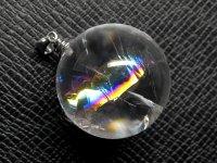 ★【レインボークリスタル】虹入り丸玉水晶★天然石ペンダント:C-45732