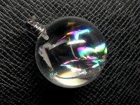 ★【レインボークリスタル】虹入り丸玉水晶★天然石ペンダント:C-45708