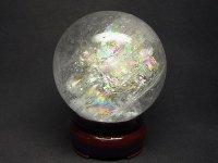 レインボー★【クリスタル】白水晶球★60mm【飾り台付】:C-21505