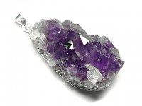 ★【アメジストクラスター】紫水晶原石★天然石ペンダント:AM-23985