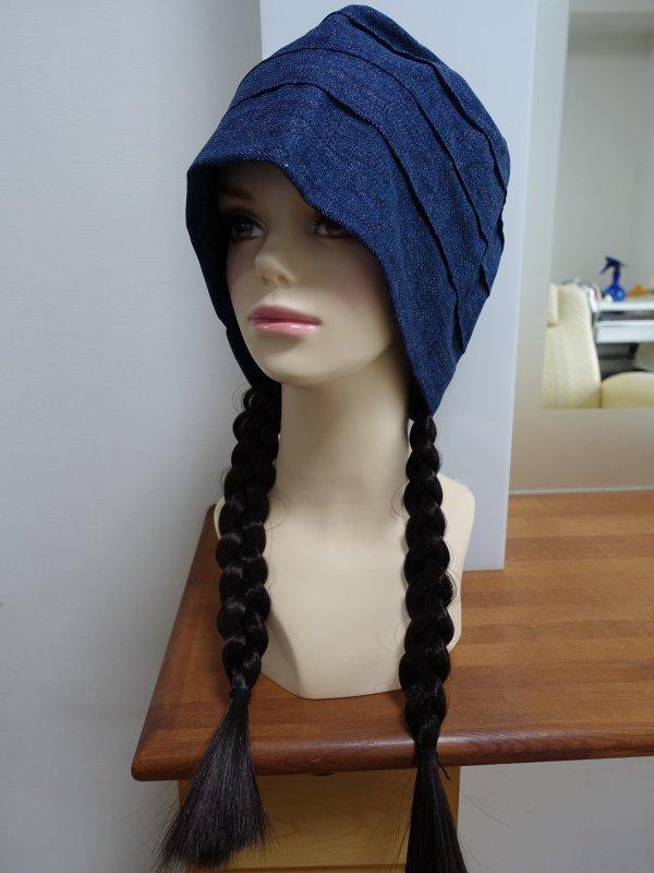 医療用 大人三つ編みウィッグつき室内用帽子ダブルガーゼ