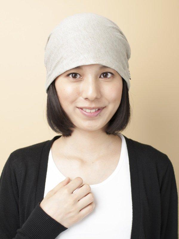 医療用 ミックスつけ毛付き室内用帽子/ショートスタイル