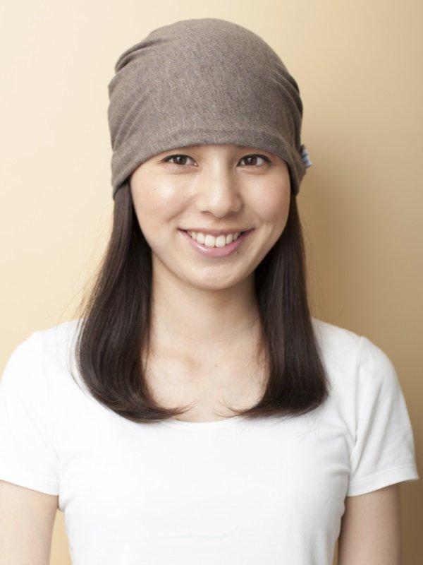 医療用 ミックスつけ毛付き室内用帽子/ロング
