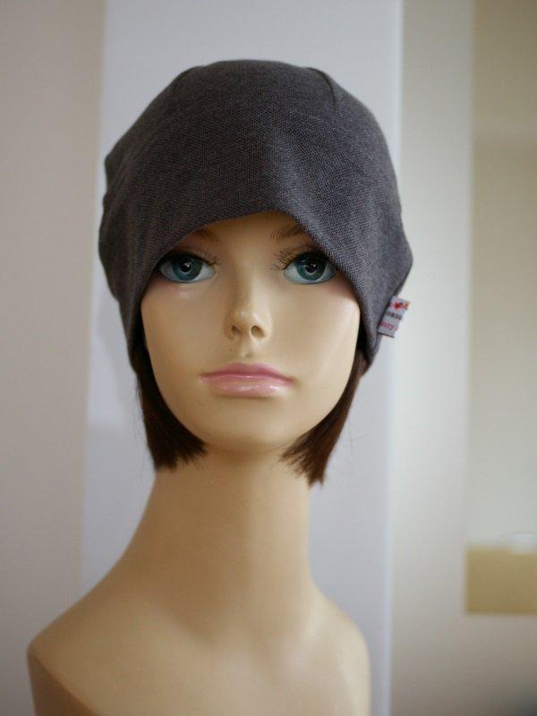 医療用 ミックスつけ毛付き室内用帽子(鹿の子オーガニック帽子)/ショートスタイル