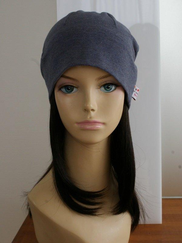 医療用 ミックスつけ毛付き室内用帽子(鹿の子オーガニック帽子)/ロングスタイル
