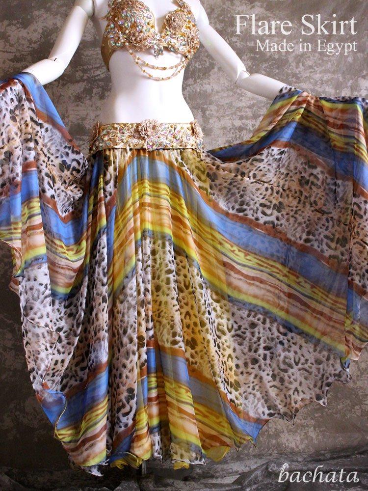 エジプト製・レオパード柄フレアスカート