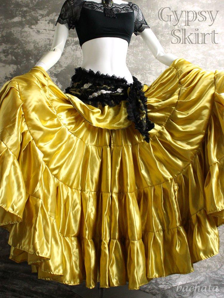 25ヤード・サテン生地 ジプシースカート・金色・丈約90cm
