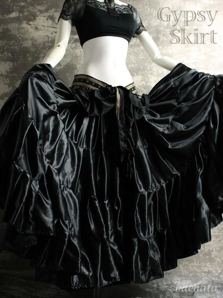 25ヤード・サテン生地 ジプシースカート・漆黒・丈約90〜95cm