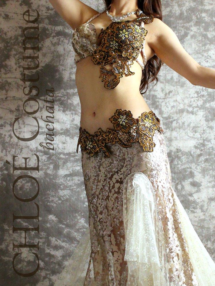 ベリーダンス衣装 CHLOÉ オフホワイト×ブロンズ (送料無料)