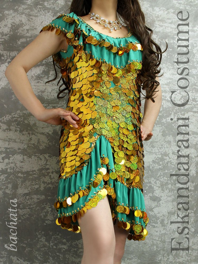 Amr ミラーヤドレス(エスカンダラーニ衣装)パンツ付・ゴールドスパン・エメラルド・1点のみ