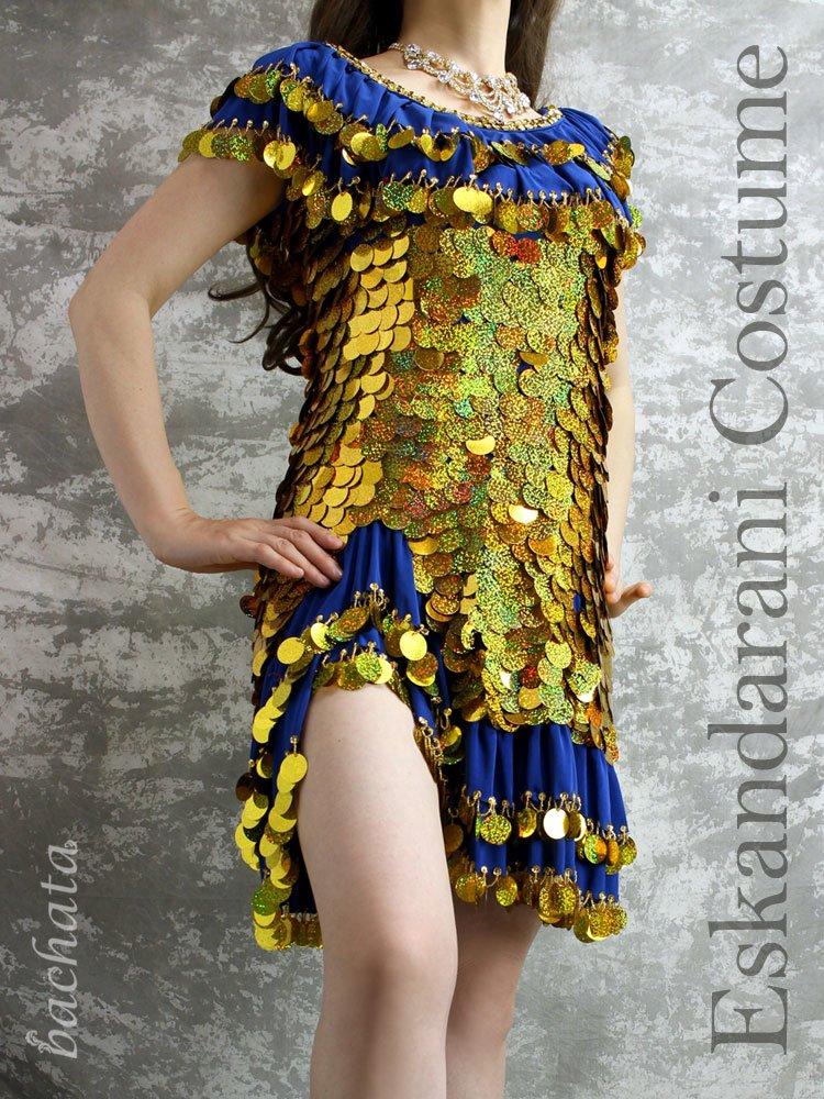 Amr ミラーヤドレス(エスカンダラーニ衣装)パンツ付・ゴールドスパン・ブルー・1点のみ