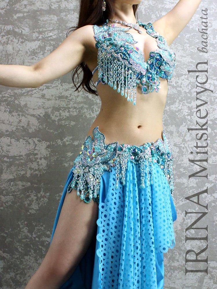ベリーダンス衣装 IRINA・ターコイズブルー (送料無料)