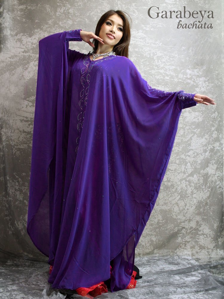 エジプト製ガラベーヤ・前開きタイプ・紫